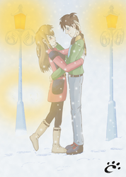 Couple in the snow by TrickyPhantom
