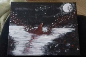Red Roses Silver Mourning - Acrylic by KLJB13