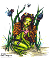 Steampunk frog fairy- Colored by JadeDragonne