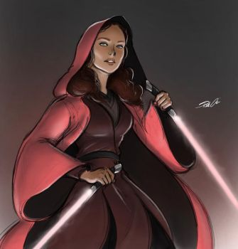 A really pink Jedi (or Sith?) by RobtheDoodler