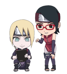Commission - Inojin and Sarada by nattouh