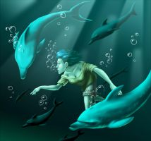 Maline and the Dolphins by MiloNeuman