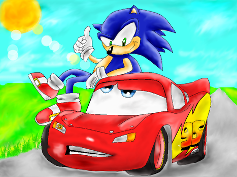 Sonic and Mcqueen by ewela007
