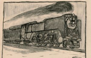 Union Pacific #844 Vine-Charcoal Drawing by GeebMachine