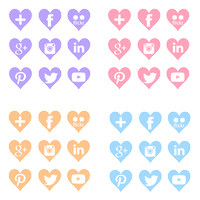 FREE Social-media Icons: Purple/Pink/Orange/Blue by anineko