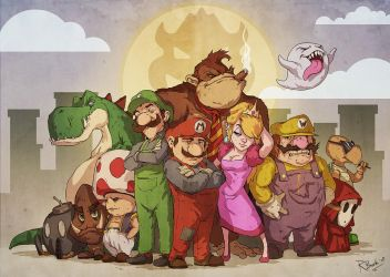 Mario Bros - The family by RogierB