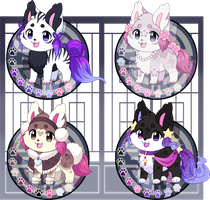 (SOLD!) Kitsunet Adoptables Flatsale! by Miizue