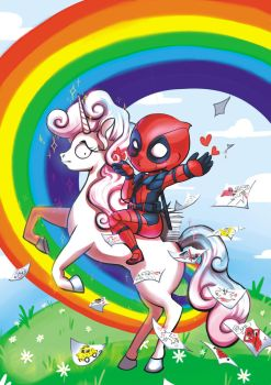 Kawaii Deadpool Riding A Concerned Unicorn by JerkArts