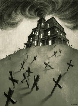 Haunted House bw by MadLittleClown