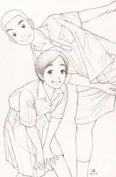 Thai student boy and girl by cocon