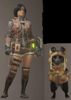 Reina Beaumont with Mewsoo in Monster Hunter World by ReinaHW