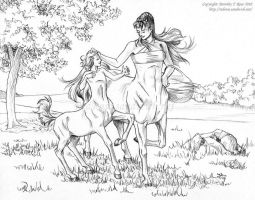 Centaur Mare and Foal by Dorothy-T-Rose