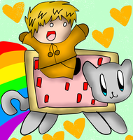Commish for LN176: Kenny on Nyan Cat by Hallerpl