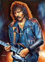Tony Iommi painting portrait Black Sabbath poster  by SpirosSoutsos