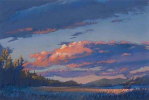 evening on the lake - pastel by David-McCamant
