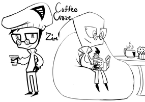 Coffee Craze Zim doodles by Glitched-Irken