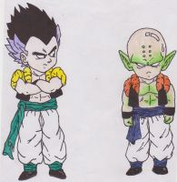 Gotenks and Krillin Piccolo Fusion by sylargrey11