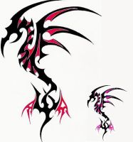 Tribal Dragon red+pink by Scit