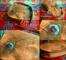 Peacock's Feather Leather Messenger Bag by izasartshop