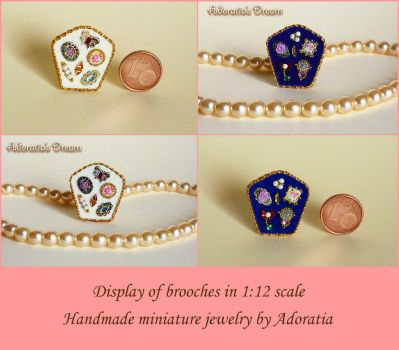 Brooches in 1:12 scale, miniature jewelry by Adoratia