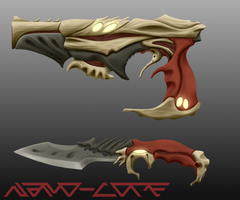 Insectoid Combat Knife + Pistol Commission by Nano-Core
