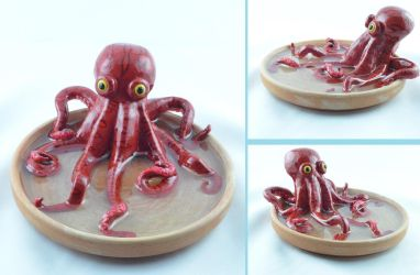 polymer clay  and resin octopus by claymeeples