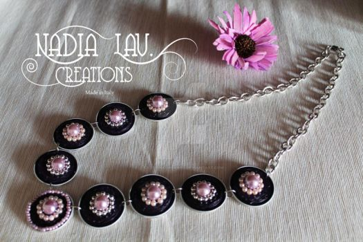 Long Violet Necklace with coffee pods by CaterinaOrlando