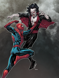 Spidey versus Morbius by Guile Sharp colored by DanOlvera