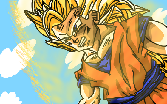 Goku SSJ3 damanged by lizardlaser