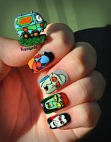 Scooby Doo Nail Art - Mystery Machine and Monsters by KayleighOC