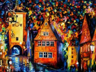 Germany - Medieval Rothenburg by Leonid Afremov by Leonidafremov