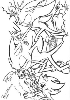 .:Dark Super Sonic protects his Baby:. by PhoenixSAlover