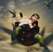 The Girl and the 4 Humming Birds by IsalRahman