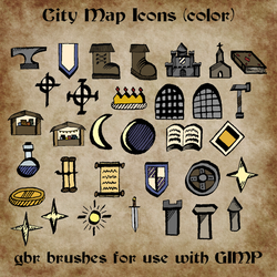 City Map Icon GIMP Brushes (color) by ALifeInColours