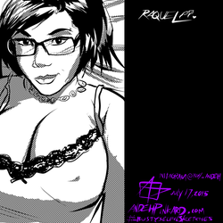 busty selfie sketches: Raquel by andehpinkard