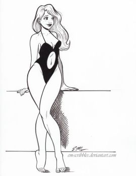 Inktober Swimsuit Pin-Up by em-scribbles
