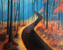 Enchanted Autumn Forest Painting by SerenityandPeaceArt