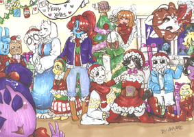 MERRY XMAS from Undertale crew :3 by akkame