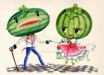 Kitschy Cute Watermelon Couple by BlueBirdie