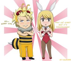 Sting the bee and Lucy the bunny girl by Valeorie