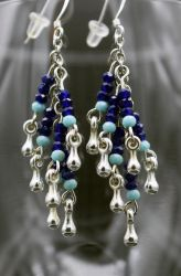 Earrings: blues and silver dangles by LissaMonster