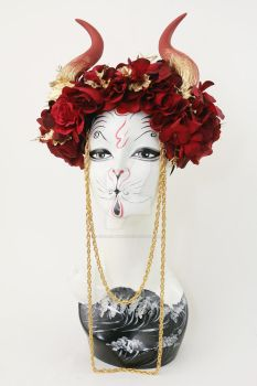 Scarlet Gold Faux Horn Headdress by ctrlaltvamp