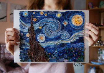 Quilling: The Starry Night by Vincent van Gogh by MarieAvril