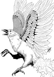 [COMM] Autumn Raven (BnW) by Jefra