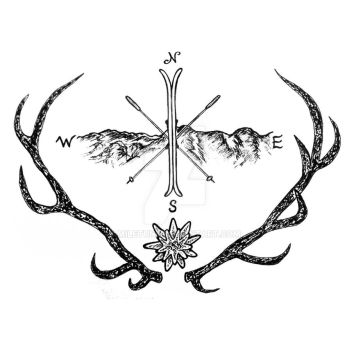 Deer mountain tattoo design by Miletune
