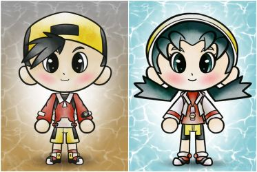 Chibi Pokemon Ethan and Kris by saramations