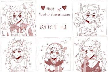 Bust Up Sketch Commission Batch #2 by Shiina-Yuki