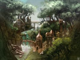 Elven Village by carloscara