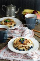 Banana pancakes with hot chocolate. by MirageGourmand