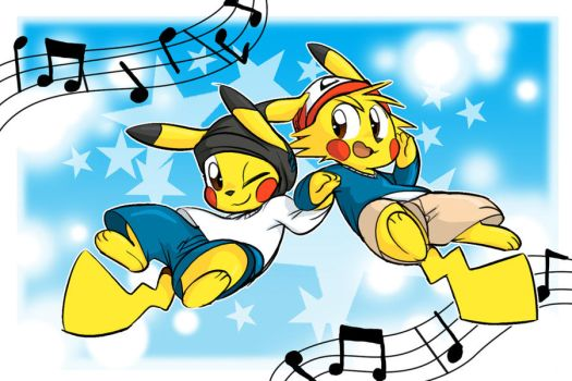 Ashchu and Pikachu Dance by Coshi-Dragonite